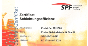 Zertifikat Schichtungseffizienz SPF Rapperswil